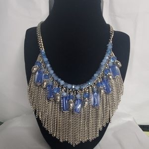 NEW AVENUE ONE SIZE NECKLACE CHAIN BLUE STONES